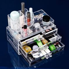 Clear Acrylic Makeup Organizer For Cosmetic Organizer Functional Cosmetic Storage Drawer Makeup Case Storage Holder Box #Affiliate