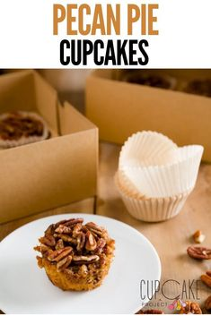 These pecan pie cupcakes are down home, sticky, gooey, nut-packed finger-licking sensations.  They have just enough cupcake batter to hold the cake together; that batter is topped with pecans and doused with the same mixture of sugar, syrup, butter, and eggs that the Pioneer Woman uses to make her pecan pie. #PecanPie #Desserts Best Dessert Recipes, Cheesecake Recipes, Vegan Desserts, Easy Desserts, Gourmet Recipes, Baking Recipes, Delicious Desserts, Strawberry Swirl Cheesecake, Cheesecake Strawberries