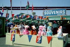Large stuffed plush animals at the New York Worlds Fair Souvenir Center.