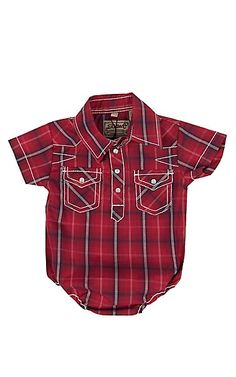 Rafter C Infant Red Plaid Short Sleeve Western Snap Onsie | Cavender's