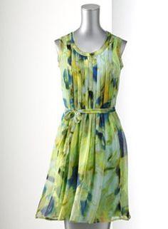 Simply Vera Vera Wang Watercolor Pleated Chiffon Dress