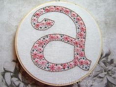 would love to embroider this on a knitting project bag for me Embroidery Pattern PDF Alphabet Monogram Lettering. $5.00, via Etsy.