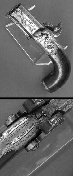"A double barreled percussion pistol by the famous maker "" Baucheron A Paris"", ca. 19th century."