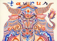 """""""Taurus"""" / Ink markers on paper / 8x6in / 20x15cm / 2012"""