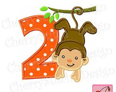 Birthday Monkey with Number 2-Digital embroidery applique -4x4 5x7 6x10-Machine Embroidery Applique Design