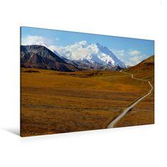 Denali Nationalpark und Mt.Denali (Premium Textil-Leinwand, Bild auf Keilrahmen) - CALVENDO