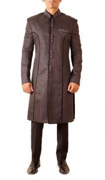 Buy Online Black colored linen Sherwani by Nilesh Metish - 2014
