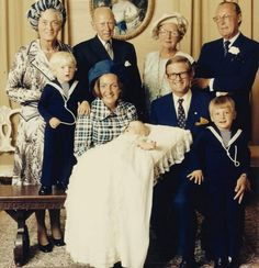 3 September 1973 - Christening of Prince Pieter-Christian, son of Princess Margriet and Professor Pieter, shown here with his brothers Prince Bernhard (left) and Prince Maurice (right) and both sets of grandparents.