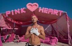 The man T:@halcyon I:@halcyonpink  himself with his Pink Heart camp! Want more? Hugnation.com! :') #burningman