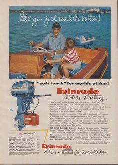"1955 EVINRUDE ""BIG TWIN"" ELECTRIC AQUASONIC 25 HP OUTBOARD MOTOR AD"