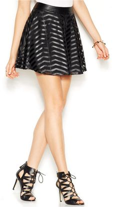 GUESS Chevron Faux-Leather Mini Skirt - Click the link for product details :)