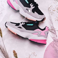 finest selection 8fed5 476fd ADIDAS FALCON CHUNKY BLACK LIGHT GRANITE GREY PINK BB9173