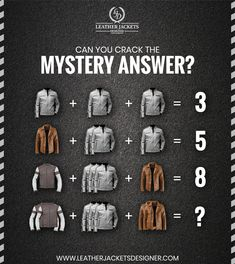 Can You Crack The Mystery Answer ?. Use Coupon Code And Get Flat 15% Discount On Every Our Product! ✔ 100% Money-Back Guarantee ✔ All Sizes Are Available ✔ High-Quality Leather with Fine Stitching Throughout #leatherjacket #leather #fashion #jacket #leatherpants #style #bikerjacket #jaketkulit #jaketkulitasli #jaketkulitsecond #leatherjackets #jualjaketkulit #motorcyclejacket #leatherman #jaketkulitbekas #leatherfashion #ootd #jaketkulitmurah #mensfashion #vintage Leather Fashion, Mens Fashion, Designer Leather Jackets, Vintage Shops, Stitching, Mystery, Leather Pants, Coupon, Moda Masculina