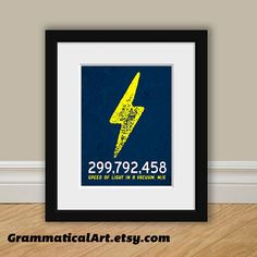 Science Physics Speed of Light Print Poster - Perfect Science Gift Geekery Nerdy Home Decor Gift Teacher Gift Science Art Typographic Print