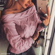 Sexy Off Shoulder Long Sleeve Plain Knitting Sweaters 97e0f9205