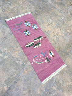 1'35'x3'12' ft, Oriental Wool Small Pink Rug, Small Carpet Rug, Pink Kilim Rug, Door Mat Rug, Vintage Small Rug, Persian Small Rug, Rugs by RuginRugs on Etsy Star Rug, Pink Rug, Tribal Rug, Small Rugs, Kilim Rugs, Vintage Rugs, Rugs On Carpet, Bohemian Rug, Hand Weaving