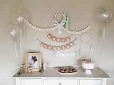 Bohemian Birthday Party // First Birthday // clear balloons