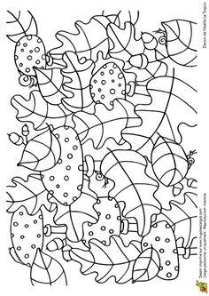 Coloriage cache cache feuilles amanites tue mouches sur Hugolescargot.com - Hugolescargot.com Fall Coloring Pages, Pattern Coloring Pages, Fairy Coloring, Coloring For Kids, Coloring Sheets, Coloring Books, Autumn Crafts, Autumn Art, Secret Garden Book