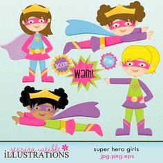 Super Hero Girls Cute Digital Clipart for Card Design, Scrapbooking, and Web Design. $5.00, via Etsy.