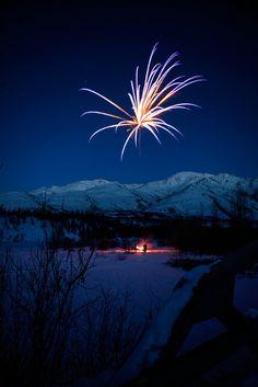Fireworks at Wiseman, Alaska; photo by .Nina Matthews