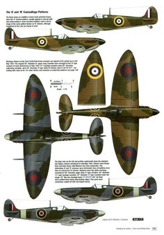Spitfire A and B camouflage patterns Ww2 Aircraft, Fighter Aircraft, Military Aircraft, Fighter Jets, Bomber Plane, The Spitfires, Camouflage Patterns, Aircraft Painting, Supermarine Spitfire