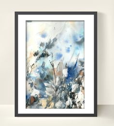 Abstract Winter Art Print from Watercolor by CanotStopPrints
