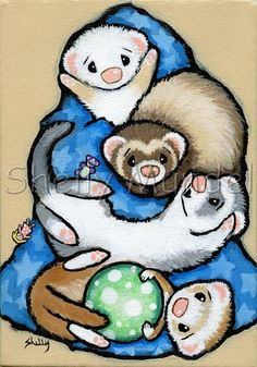 Ferret Pile Hand Painted Original Ferret Art by Shelly Ferrets Care, Baby Ferrets, Cute Ferrets, Baby Otters, Cute Animal Drawings, Love Drawings, Otters Cute, Pop Stickers, Pocket Pet