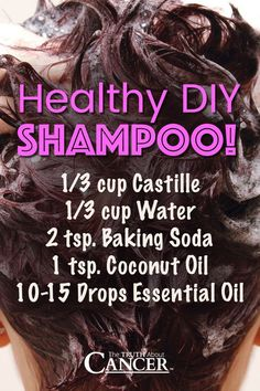 Want to save your body and your precious eyes from the toxins in regular shampoos? Of course you do. Try this easy to make, healthy DIY shampoo! Ingredients include castille, water, baking (How To Make Makeup Homemade) Diy Shampoo, Baking Soda Shampoo, Homemade Shampoo And Conditioner, How To Make Shampoo, Shampoo Alternative, Essential Oils For Cancer, Young Living Essential Oils, Healthy Shampoo, Coconut Oil Uses