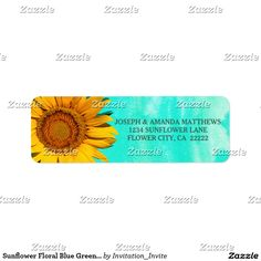 Sunflower Floral Blue Green Watercolor Label This label features nature landscape photography of a beautiful summer sunflower with a blue - green watercolor background. Sunflower photographed at the Forks Of The River Wildlife Management Area in one of the many fields of flowers there. Matching products are available in my shop.