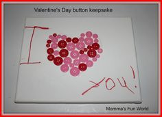 Momma's Fun World: Valentine's Day button canvas keepsake