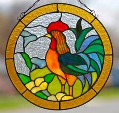 12 Inch Stained Glass Rooster Window Panel with Chain Rooster Art, Stained Glass Mosaic, Glass Painting, Glass Birds, Stained Glass Birds, Glass Art