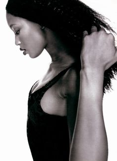 """""""Any Color At Night... As Long As It's Black"""" Mademoiselle November 1994 photographer: Marc Hom hair: Sally Francomb for Carita makeup: Marie-Josée Lafontaine model: Naomi Campbell"""