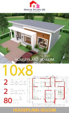 House Plans with 2 Bedrooms Shed Roof - House Plans Shed House Plans, Simple House Plans, Beautiful House Plans, Model House Plan, House Layout Plans, Simple House Design, Bungalow House Plans, House Floor Plans, Shed Roof