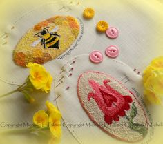 Bumble Bee Tulip Flower Set of Two Punch Needle Embroidery DIGITAL Jpeg and PDF…