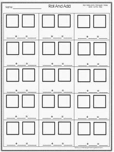 math worksheet : 1000 images about addition and subtraction on pinterest  : Dice Addition Worksheet
