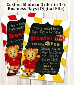 Daniel Tiger Party Invitation 4x6 or 5x7 by MaxineReneeDesigns