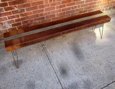 Salvaged joist and raw concrete benches by RecycledBrooklyn Furniture Projects, Wood Projects, Concrete Bench, Cement Crafts, Wood Stone, Salvaged Wood, Concrete Countertops, Farmhouse Design, Entryway Tables
