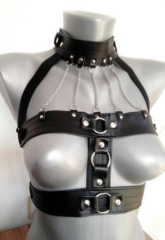 Straps are sewed and made of faux leather. Chains and studs :) Comfortable and easy to wear. Please make sure you contact me withh your measurements before you purchase. Leather Harness, Leather Chain, Leather And Lace, Looks Rockabilly, Mode Costume, Leather Lingerie, Lingerie Collection, Leather Fashion, Sexy Outfits