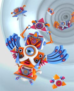Robots by Angélica Porfirio, via Behance
