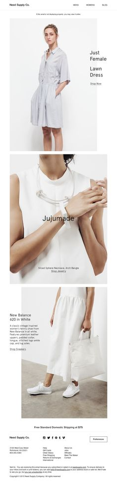 Need Supply Co. - New: Just Female / Jujumade Jewelry / New Balance 620 in White