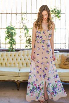 Cassie Cream Floral Maxi Dress – Morning Lavender