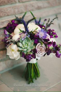Purple, green, and white with succulent bouquet.