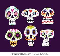 Cute cartoon sugar skulls isolated on purple background. Set 1 of Vector illustration. Pintura Sugar Skull, Sugar Skull Painting, Sugar Skull Art, Sugar Skulls, Candy Skulls, Dibujos Sugar Skull, Drawing For Kids, Art For Kids, Mexican Skull Art