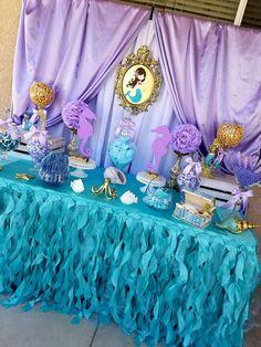 Michelle M's Birthday / Mermaid - Photo Gallery at Catch My Party Mermaid Theme Birthday, Little Mermaid Birthday, Little Mermaid Parties, Girl Birthday, Birthday Table, Outside Birthday Parties, 1st Birthday Parties, Birthday Ideas, Mermaid Party Decorations