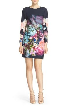 Ted Baker London 'Vyra' Floral Print Tunic Dress available at White Scalloped Dress, White Floral Dress, Floral Dresses, Modern Dress For Women, Ted Baker Fashion, Women's Fashion, Fashion Trends, Dress Cuts, Nordstrom Dresses