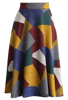 Retro Color Blocks A-line Midi Skirt - New Arrivals - Retro, Indie and Unique Fashion