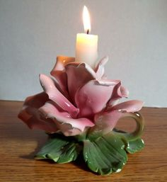 Vintage Capodimonte Porcelain Pink Rose Flower Candle Holder Made in Italy  #Capodimonte