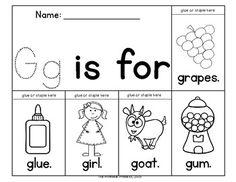 알파벳을 배운지 얼마 안된 아이들이 각각의 알파벳으로 시작하는 단어를 익힐 수 있다. 위의 경우, G로 시작하는 기초적인 단어를 익힐 수 있는 자료다.