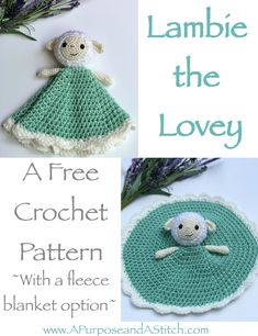 Lambie the Lovey- a free crochet pattern with link to a free picture tutorial