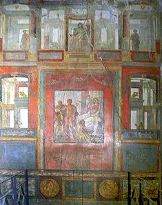 Fresco in the Casa dei Vettii, Pompeii. Paintings in Roman Pompeii: Differences in Public and Private Areas of the Home by Ashley Barnes, Western Oregon University, 2008.